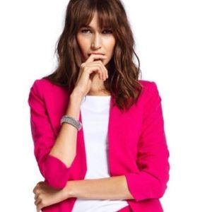 H&M Pink Open Front Crop Blazer w/ Ruched Sleeve